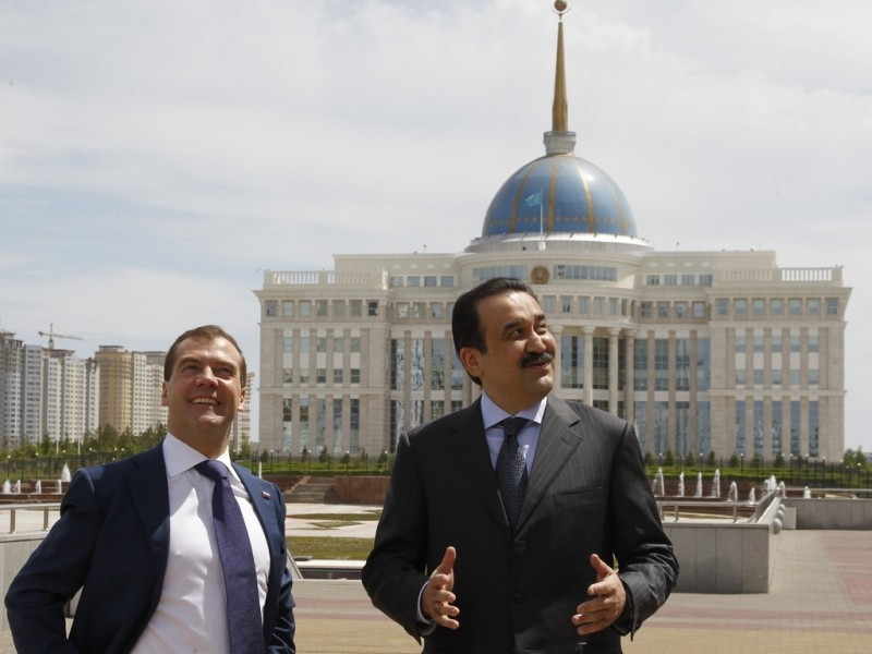 Massimov with Medvedev during happier times in 2012. Russian government photo licensed for redistribution taken in Astana, Kazakhstan.