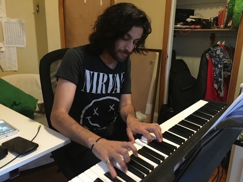 Yazan Al-Hajari fled Syria after composing music that was critical of the Syrian regime.  Credit: Jason Strother