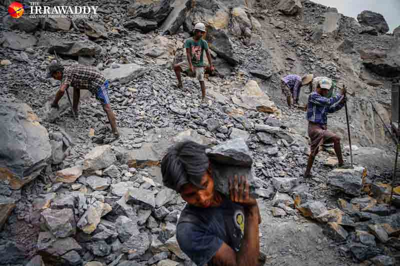 Workers at a quarry in Ohn Chaw Village off the Mandalay-Lashio road, near Mandalay. Photo and caption by Zaw Zaw / The Irrawaddy