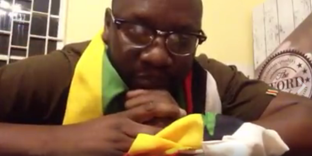 A screenshot of a YouTube video of Zimbabwean pastor Evan Mawarire launching his onlin movement #ThisFlag.