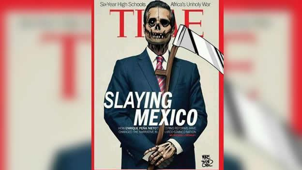 "Meme ""Slaying Mexico"" from the original cover by Time Magazine. Widely shared on Twitter."