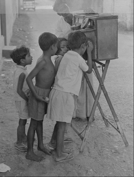 Children are enjoying Bioscope show. Old Dhaka, Bangladesh (1960s). Photographer- Roger Gwynn. Photo courtesy- Bangladesh Old Photo Archive.