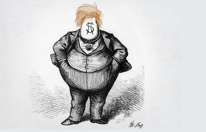 """Boss Trump, ode to Nast"" by DonkeyHotey (CC BY). This image of Boss Trump was adapted from Thomas Nast's most famous political cartoon titled The ""BRAINS"" that is available from the Library of Congress. The original cartoon was published in Harper's Weekly on October 21, 1871."