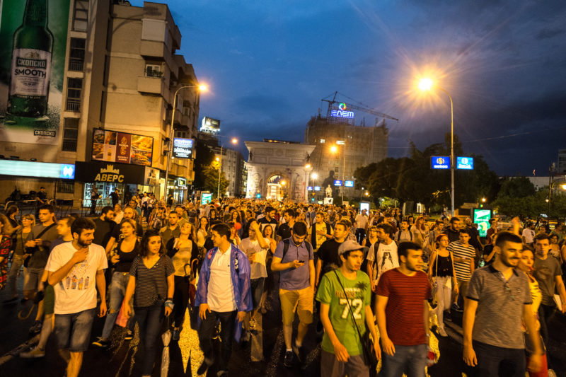 July 1 protest in Skopje, in support of demands of Student Plenum and other youth NGOs against election fraud. Photo by Vančo Džambaski, CC BY-NC-SA.