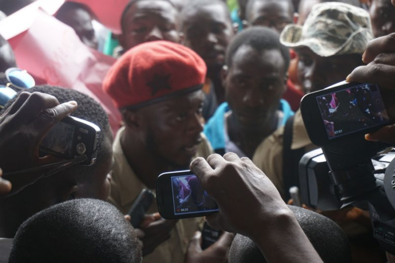 Jefferson launched a digital news outlet in Liberia called the Bush Chicken. Here is a photo he took while on assignment, covering a student protest against proposed tuition hikes at the University of Liberia. Credit: Photo courtesy of Jefferson Krua