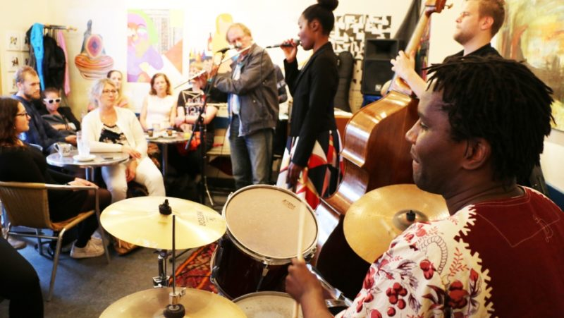 Musicians from Scandinavia and southern Africa play a jam session at a Danish café during the Copenhagen Jazz Festival this month. Credit: Sonia Narang