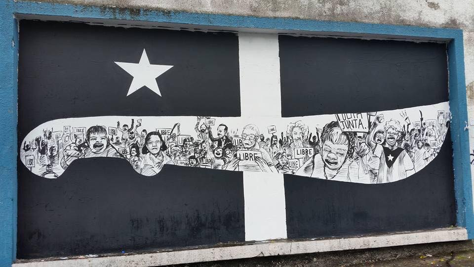 "Grito de Lares ""black flag"" in Santurce. Photo by Spear Torres. Used"