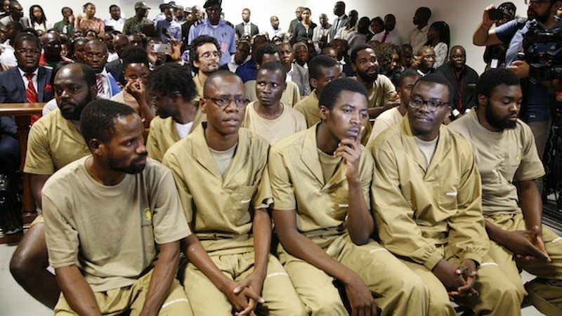 Nito Alves, (second from the left) during the trial in March 2016. Photo: MakaAngola (GV archive)