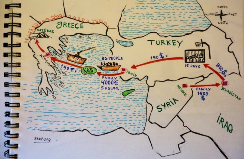 An illustration by a refugee living at Katsikas camp shows the details of his journey to Greece. Photo by Andrew Huang, drawing by Kawa. Used with permission.