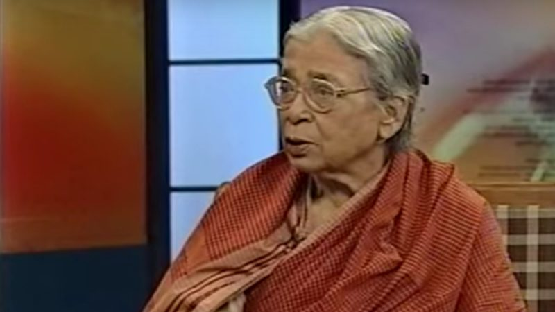 Screenshot from an interview of Mahasweta Devi with Rajiv Mehrotra