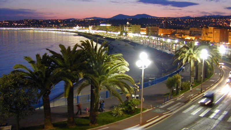 "A view along the ""Promenade des Anglais"" in Nice at night by W. M. Connolley - CC BY-SA 3.0"