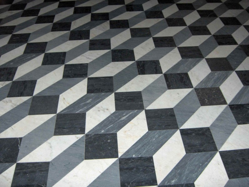 Floor tiles at the Basilica of St. John Lateran in Rome. The pattern creates an illusion of three-dimensional boxes. PHOTO: Public Domain