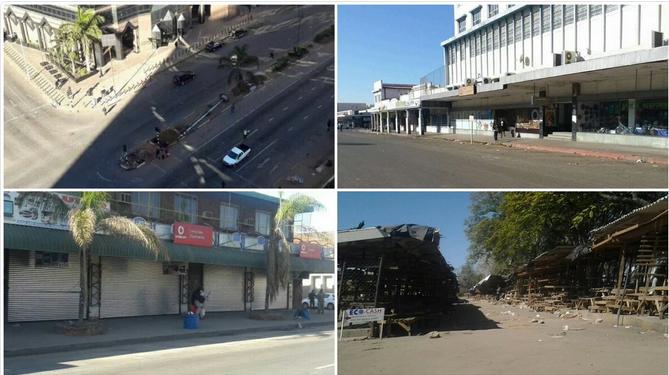Photos of downtown Harare, empty on July 6. Shared on Twitter by @Lean3JvV.