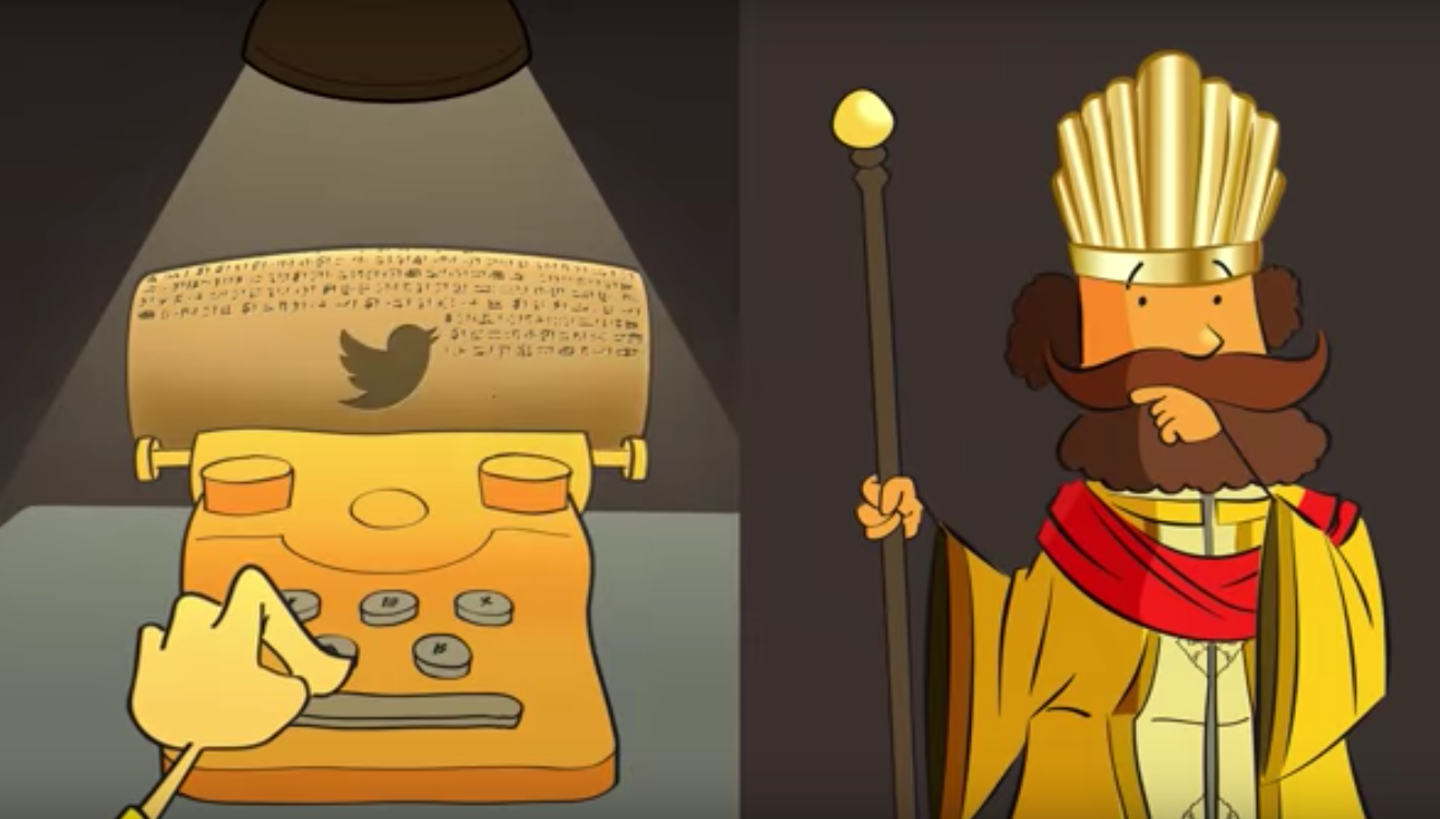 A picture of Twitter being written into the ancient Persian Cyrus Cylinder in a animation film for Farsi Twitter, highlighting the platforms effects in Iran.