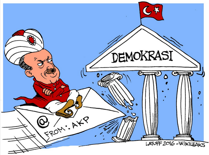 Cartoon rendering of Erdogan riding an email into a pillar of democracy. Cartoon by Carlos Latuff/Wikileaks.