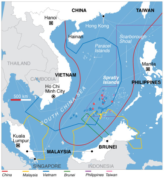 Map showing territorial claims in the South China Sea. Public Domain.