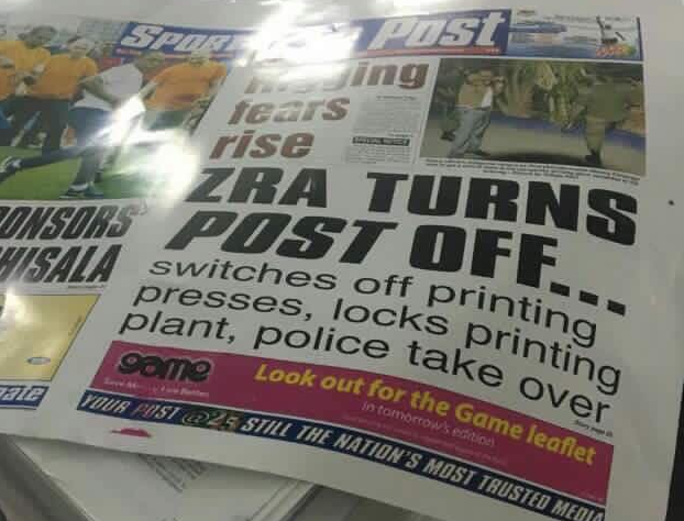 A screenshot of The Post newspaper headline announcing the shutter.