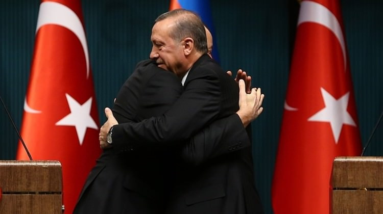 Turkish President Recep Tayyip Erdogan hugs counterpart Ilham Aliyev at a meeting last week. Wikipedia image.