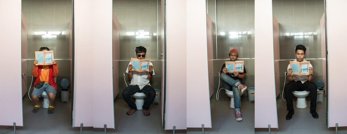 As Thailand authorities ban public reading of vote-no documents, activists post photo from toilet. Photo and caption by ‏@sunaibkk