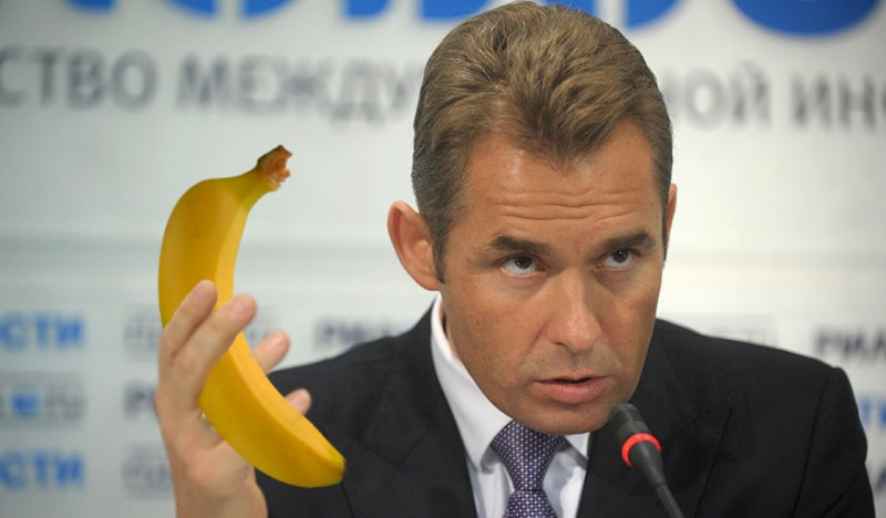 Russia's outgoing Children's Rights Commissioner Pavel Astakhov. And a banana. Photo edited by Kevin Rothrock.