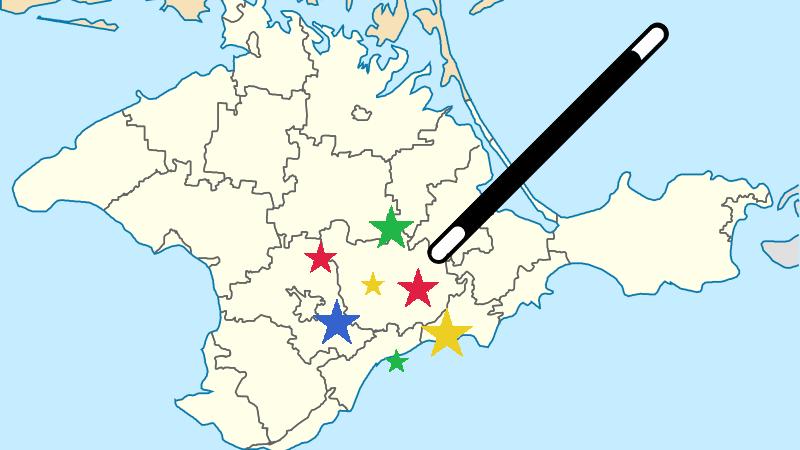Du jour au lendemain, comme d'un coup de baguette magique, Google Maps a changé le nom de certaines villes de Crimée. Images éditées par Tetyana Lokot.