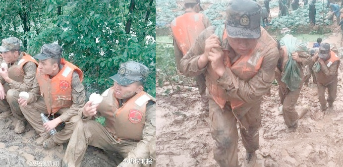 Disaster relief soldiers carrying sand bags and eating buns. Screen capture from CCTV.