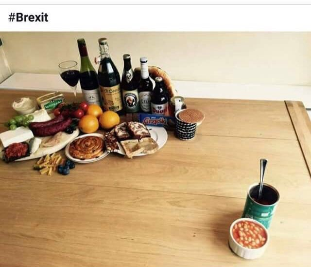 Brexit, as represented by food. A popular meme that made the rounds in the wake of the UK's EU referendum.
