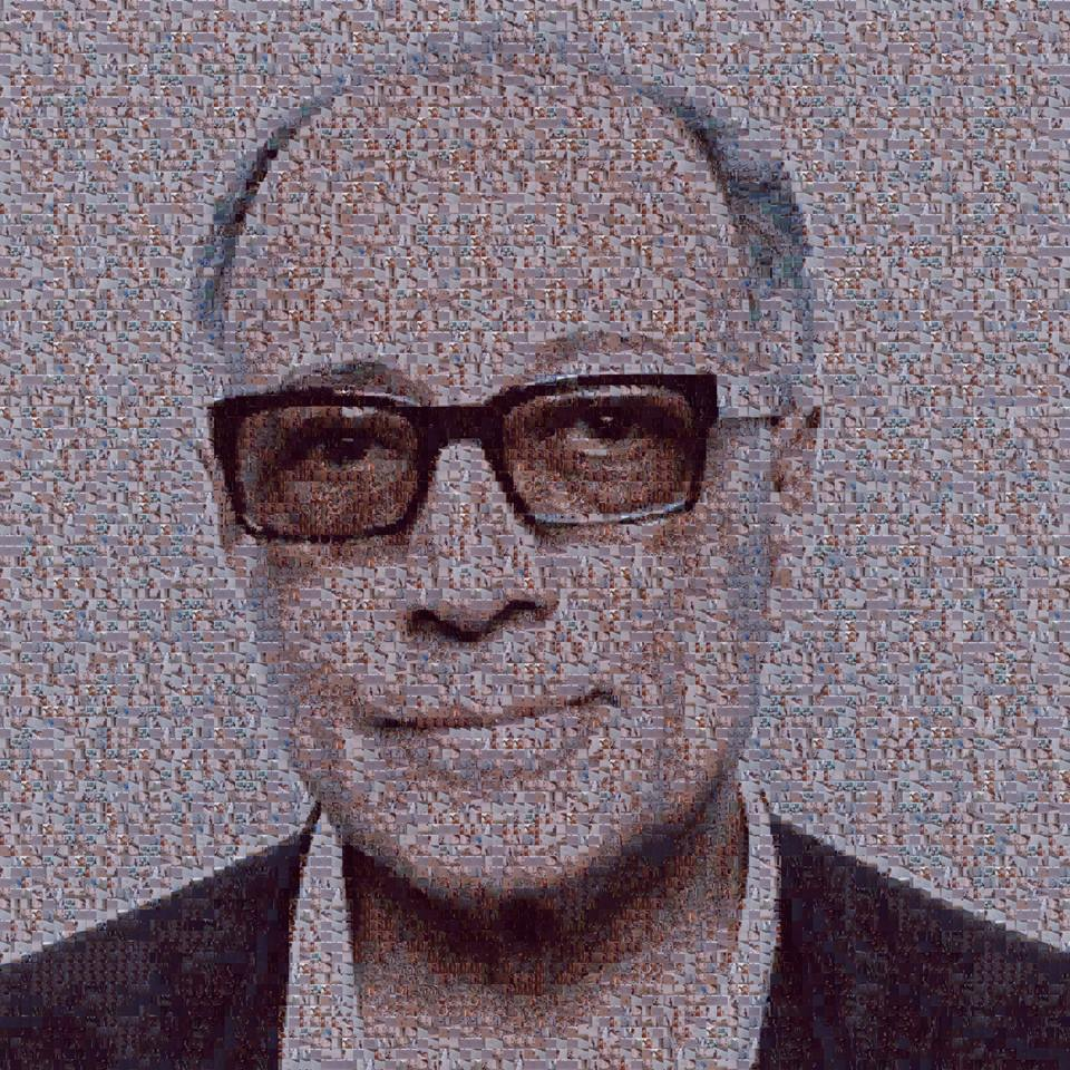 "A photo of Abbas Kiorastami shared by Hossein Setareh on Facebook made out of 1000 frames from the Kiarostami film ""Where is the Friend's Home?."""