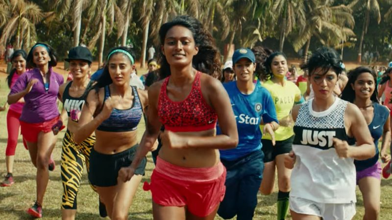 Screenshot from Nike Advertisement Da Da Ding, which features Indian women athletes.