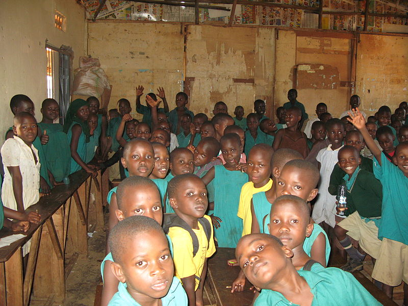 A public school in Uganda. Tweeps argue that taxpayers money need to bail out schools like this one. Image released under Creative Commons by The Sustainable Sanitation Alliance.
