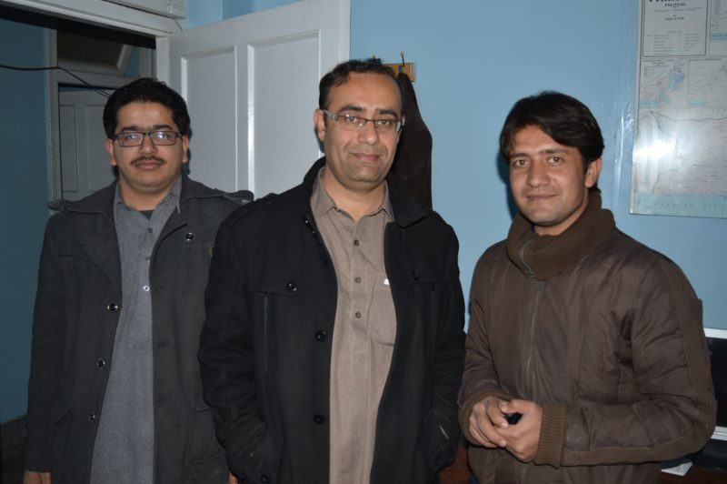Mehmood Khan with Ali Shah in the middle and another DawnNews colleague Zubair Ali Khilji (right to left) at the Quetta DawnNews bureau. From Mehmood's Facebook page.