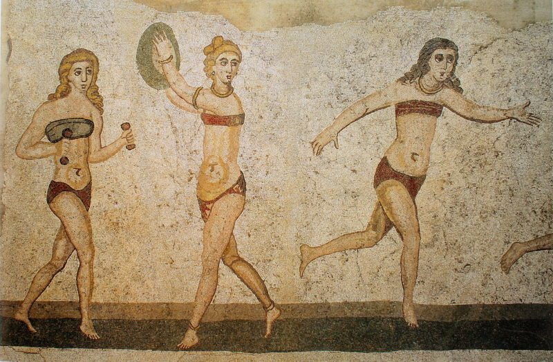 This mosaic at the ancient Roman villa Romana del Casale (286–305 AD) in Sicily contains one of the earliest known illustrations of a bikini. PHOTO: Public domain