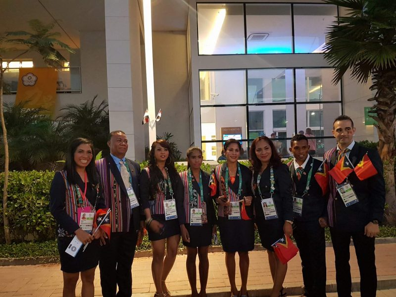 The Timor Leste delegation during the opening ceremonies of the 2016 Olympics in Rio de Janeiro. Photo from Francelina Cabral