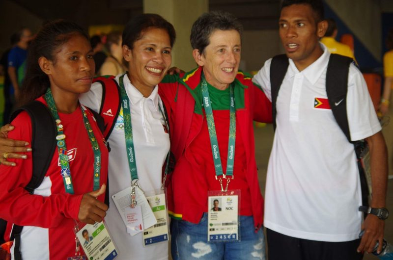 Timor Leste's Olympic athletes pose with an athlete from Portugal (second from right). Photo from Francelina Cabral