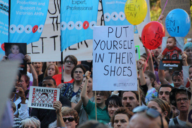 A Melbourne rally protesting the return of asylum seekers and refugees to Nauru. Photo from Flickr page of Takver (CC license)