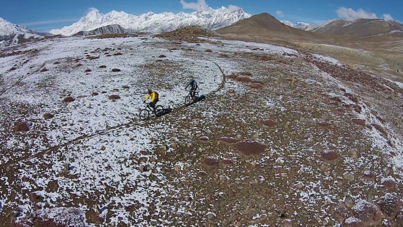 Bird's eye view of two mountain bikers in Muktinath, Mustang. 3rd in the category sports. Image by Umesh Shrestha. Used with permission.