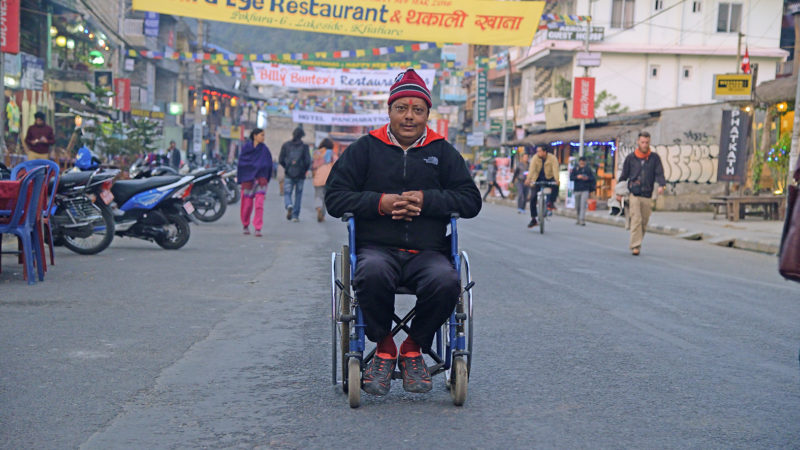 """I have travelled to 71 out of the 75 districts and all the way from Mechi to Mahakali, alone in my wheelchair, to raise my voice for equal rights for people with disabilities in the new constitution."" (Surya Bahadur Ranabhat Yatri, Pokhara). January 1, 2016"
