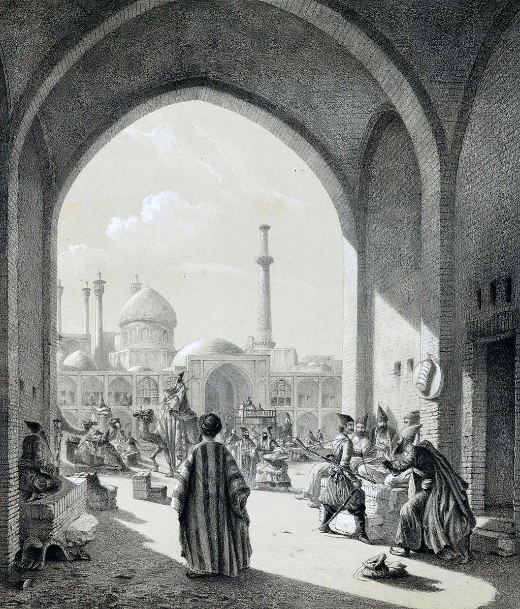 """Entrance of a Caravanserai in Isfahan"" (1840), by Eugène Flandin. Public domain via Wikimedia Commons."