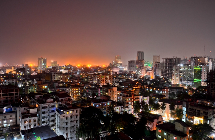 Dhaka at night. Photo by Ishtiaque Mahmood Rohan via Wikimedia (CC BY 3.0)