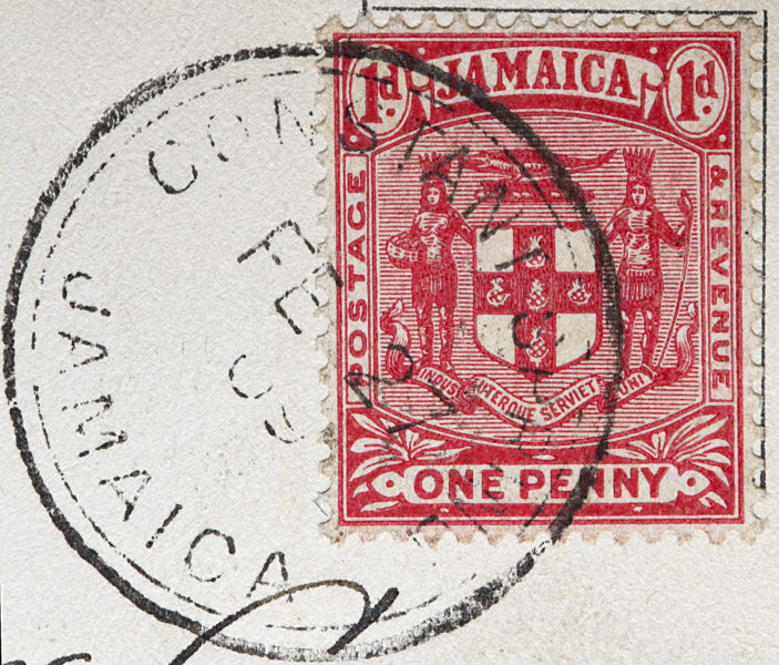 A postmark on Jamaica's Coat of Arms. Image by Mark Morgan, used under a CC BY 2.0 license.