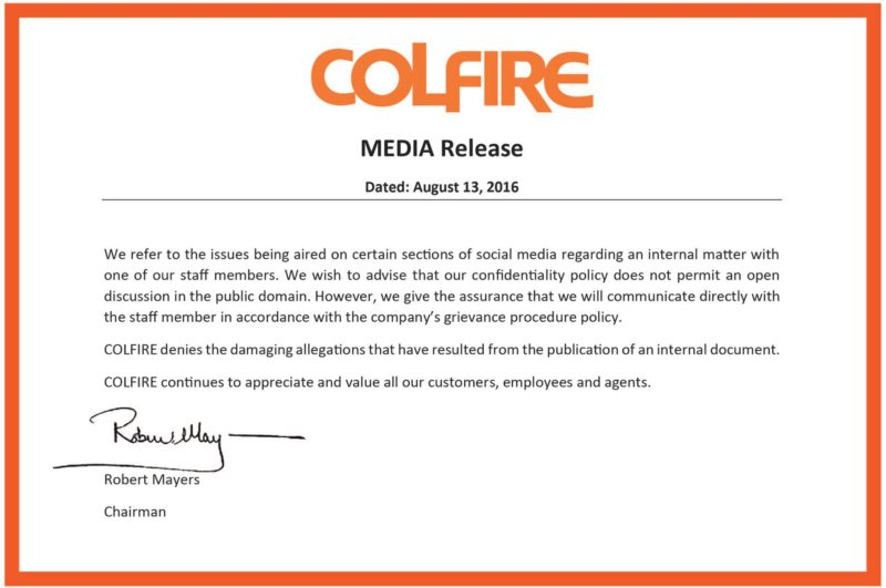 Screen grab of the COLFIRE media release being shared on social media.