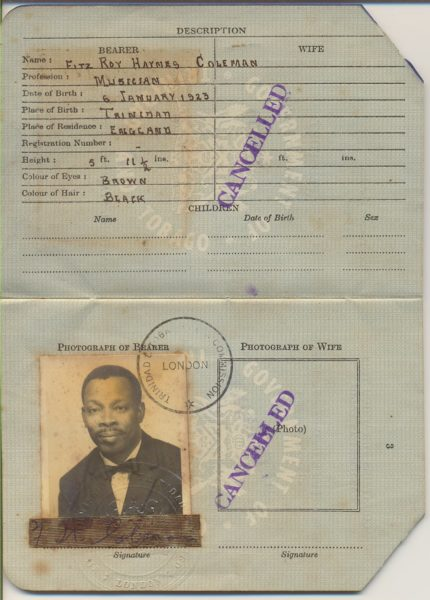 A scan of an expired passport belonging to Fitzroy Coleman. Image courtesy Robin Foster, used with permission.