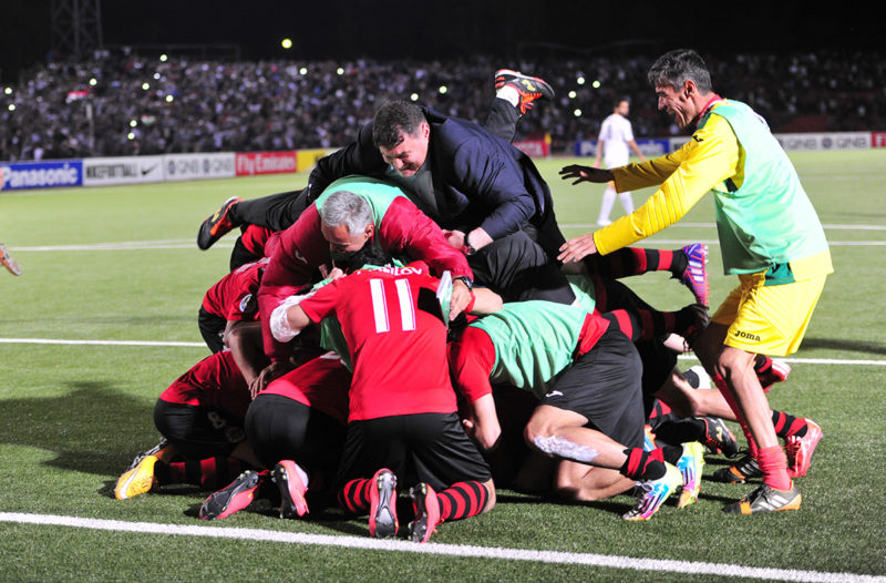 "FC ""Istiqlol"" after one of victories at the AFC Cup 2015. The picture is from the official web-site of the FC ""Istiqlol"""