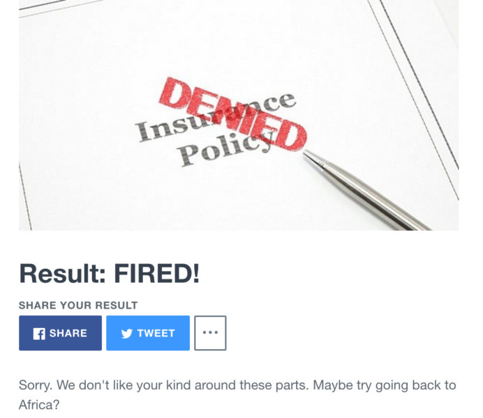 "A screenshot of the ""FIRED"" result of the COLFIRE quiz that is being widely shared on social media."