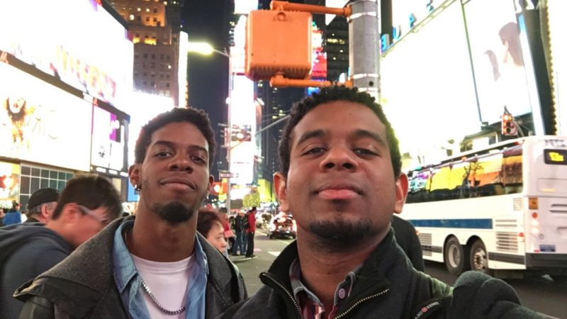 Trinidadian software developers Andel Husbands and Jonathan Agarrat in New York, where they met to brainstorm the WhereDPump app and get the ball rolling on its completion. Photo courtesy the subjects, used with permission.