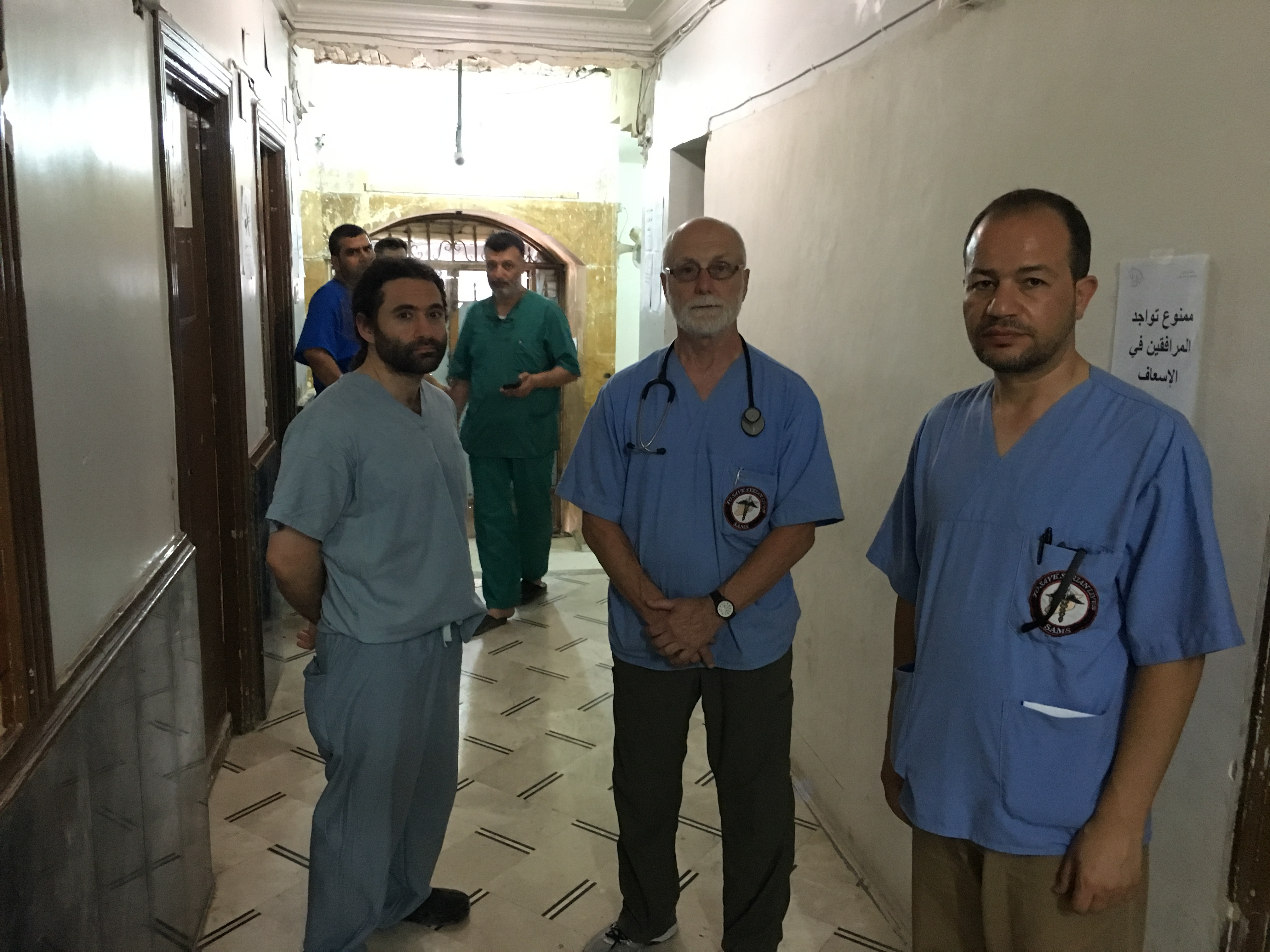 Dr Zaher Sahloul (Right) with two fellow colleagues from Chicago in Aleppo, end of June 2016. Photo used with permission.