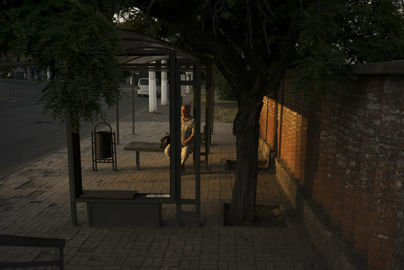 Bus stop on Lunina Ave. Mariupol, Ukraine, July 4, 2016. Photo: Ivan Sigal