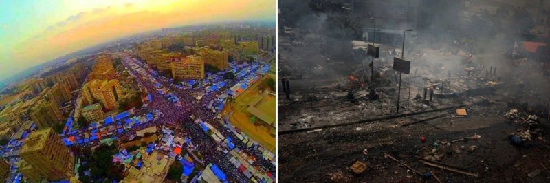 Rabaa Square before and after August 14, 2016. By Mazidan - Own work, CC BY-SA 3.0,