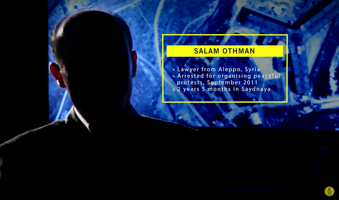 Salam featured in 'Inside Saydnaya', Amnesty International's video report of its findings. Source: YouTube Video.