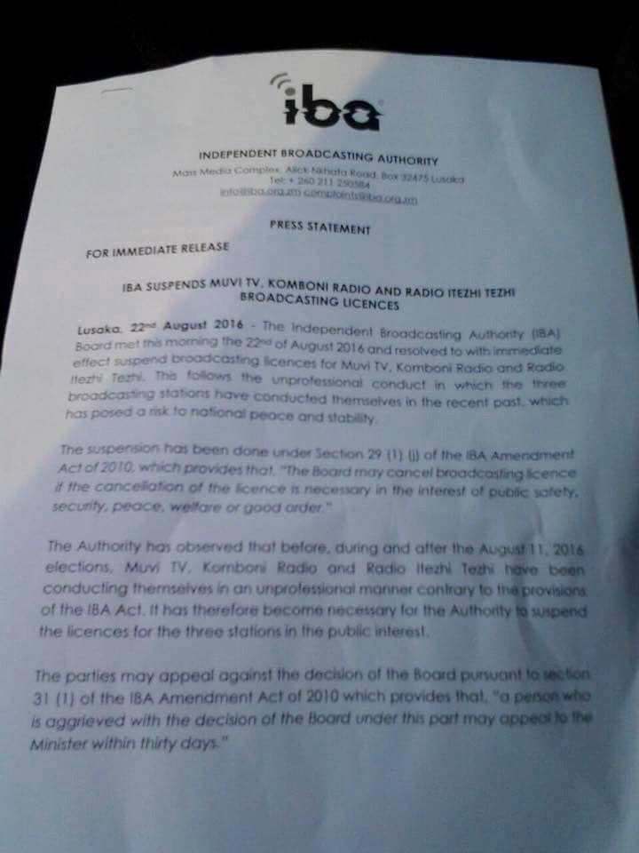 Image of the press release from the Independent Broadcasting Authority announcing the suspension.